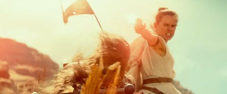 Rey fires back at Stormtroopers during a chase sequence in STAR WARS: THE RISE OF SKYWALKER (2019)