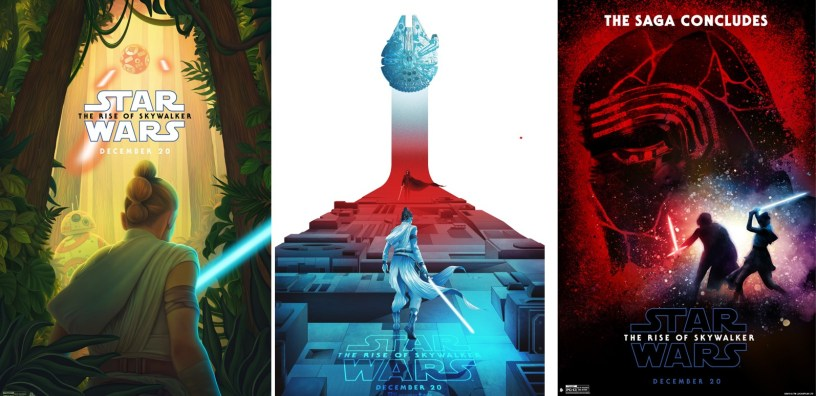 Three fan art posters for STAR WARS: THE RISE OF SKYWALKER (2019)