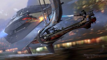 Poe and Rey pilot a Razer Sail as they are chased by the Knights of Ren in their Knife-9 ship, across the waters of Bonadan in STAR WARS: DUEL OF THE FATES