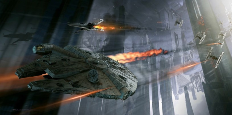 The Millennium Falcon is chased by First Order TIE Fighters in the Battle of Coruscant in STAR WARS: DUEL OF THE FATES