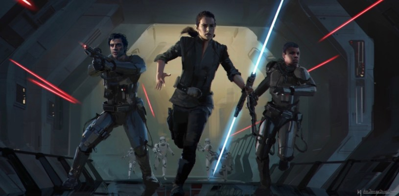 Poe, Rey, and Finn fight their way to the Eclipse Star Destroyer in the opening sequence of STAR WARS: DUEL OF THE FATES
