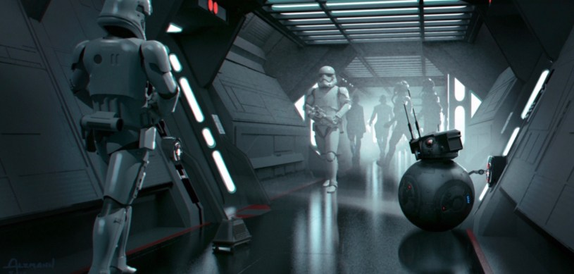 A disguised BB-8 at a Kuat First Order shipyard in the opening sequence of STAR WARS: DUEL OF THE FATES