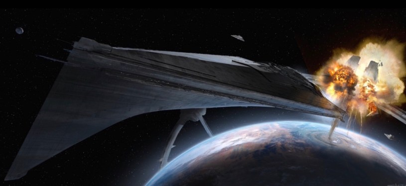 Rey's team detonates the Kuat orbital ring and steals the Eclipse Star Destroyer in the opening sequence of STAR WARS: DUEL OF THE FATES