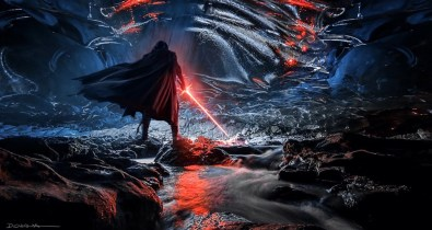 Kylo Ren inside a cave on Remnicore that is a vergence in the Force, in STAR WARS: DUEL OF THE FATES