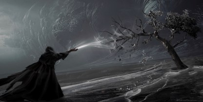 Kylo Ren saps the life Force from a tree on Remnicore in STAR WARS: DUEL OF THE FATES