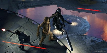 Poe and Chewbacca fight the Knights of Ren on the planet Bonadan in STAR WARS: DUEL OF THE FATES