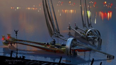 Razer Sail watercraft docked on the planet Bonadan in STAR WARS: DUEL OF THE FATES