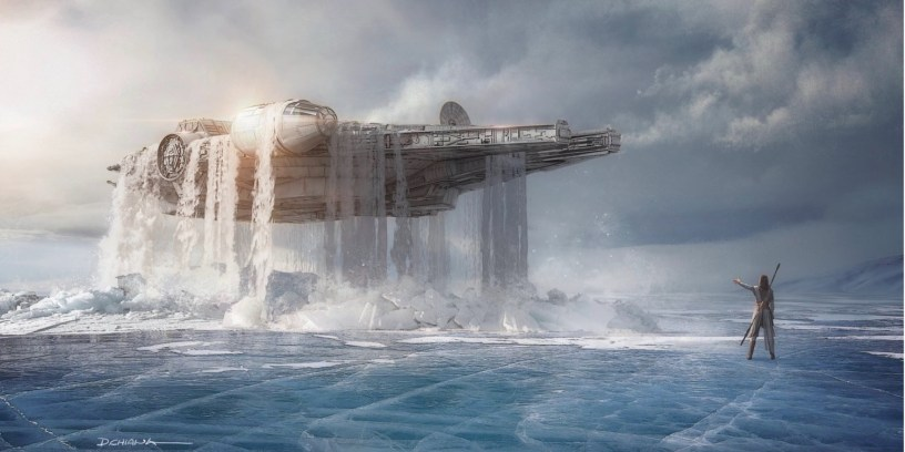 Rey uses the Force to raise the crashed Millennium Falcon out from the lake ice on Wavett in STAR WARS: DUEL OF THE FATES