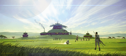 At the story's conclusion, Rey arrives at the ranch on Modesta that will become the new training center for the Jedi Knights, in STAR WARS: DUEL OF THE FATES
