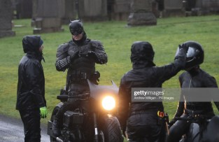 A man dressed as Batman during filming at the Glasgow Necropolis cemetery for the surperhero franchise. (Photo by Andrew Milligan/PA Images via Getty Images)