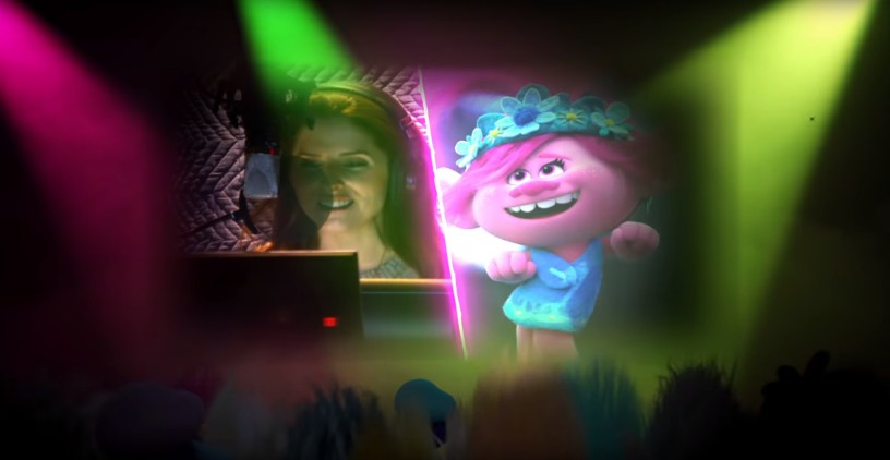 "Anna Kendrick sings as the troll Poppy in the music video for ""Just Sing,"" from the soundtrack to TROLLS WORLD TOUR (2020)"