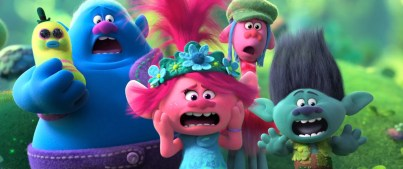 The voices of James Corden (Biggie), Anna Kendrick (Poppy), Ron Funches (Cooper), and Justin Timberlake (Branch) star in TROLLS WORLD TOUR (2020)