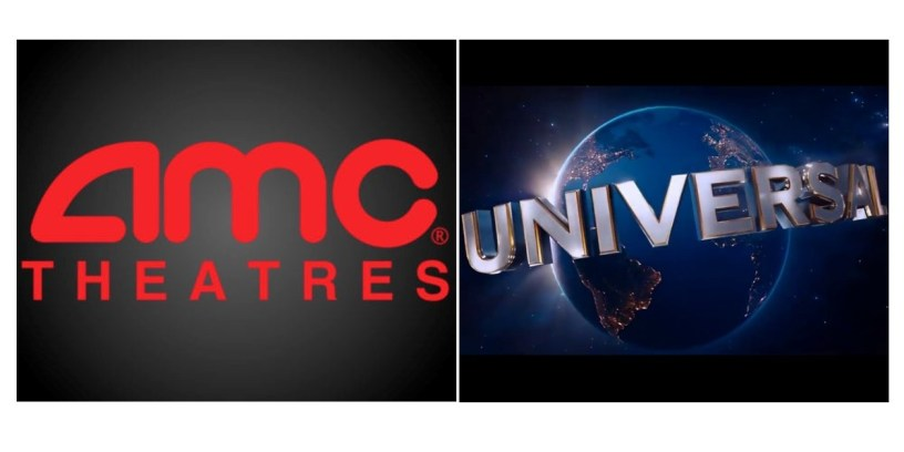 Logos for AMC Theatres and Universal Studios.