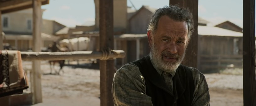 Tom Hanks as Captain Jefferson Kyle Kidd in News of the World, co-written and directed by Paul Greengrass.