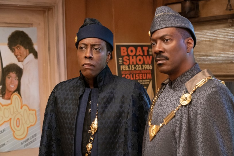 Arsenio Hall and Eddie Murphy reprise their roles as Semmi and Akeem in COMING 2 AMERICA Photo Courtesy of Amazon Studios