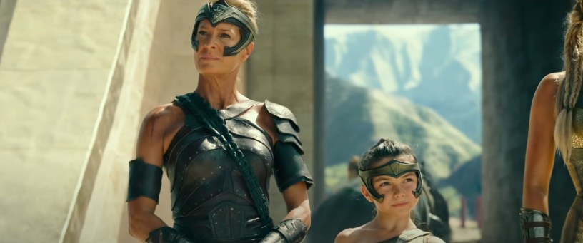 Robin Wright and Lilly Aspell co-star, respectively, as Antiope and a young Diana Prince in the opening scene to WONDER WOMAN 1984 (2020)