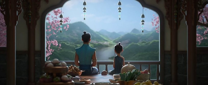 Chief Benja and his daughter Raya meditate together in Walt Disney Animation's RAYA AND THE LAST DRAGON (2021)