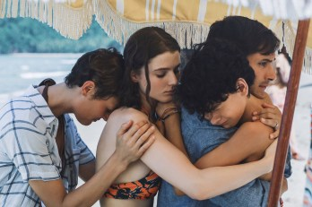 (from left) Prisca (Vicky Krieps), Maddox (Thomasin McKenzie), Guy (Gael García Bernal) and Trent (Luca Faustino Rodriguez) in OLD (2021), written and directed by M. Night Shyamalan.