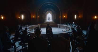 King Arthur's roundtable, Ralph Ineson co-stars as the titular character in David Lowery's adaptation of the medieval poem THE GREEN KNIGHT (2021)