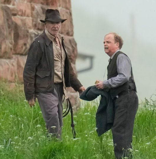 Harrison Ford and Toby Jones shoot a scene for INDIANA JONES 5 (2022)