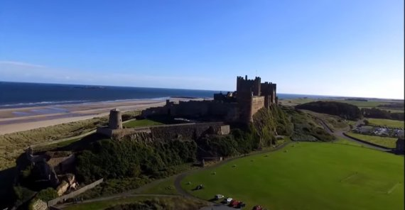Bamburgh Castle in Northumberland, UK, on location of the production for INDIANA JONES 5 (currently untitled)