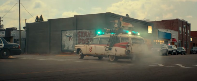 The Ecto-1 back in action, in the franchise reboot GHOSTBUSTERS: AFTERLIFE (2021)