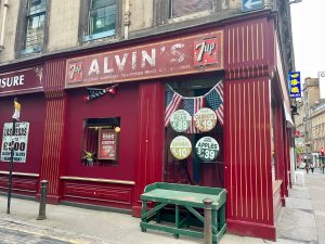 A 1969 NYC store front on the Glasgow, Scotland set of INDY 5.