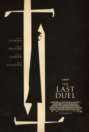 Official movie poster for Ridley Scott's French epic THE LAST DUEL (2021), done in the style of posters for medieval period films produced in the 1960s.