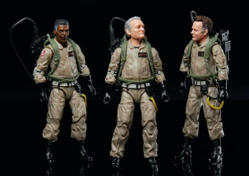 Hasbro toys for the original, now older Ghostbusters as seen in GHOSTBUSTERS: AFTERLIFE. Dr. Winston Zeddmore (Ernie Hudson), Dr. Peter Venkman (Bill Murray), and Dr. Raymond Stantz (Dan Aykroyd)