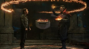 Doctor Strange conjures a spell at the request of Peter Parker in SPIDER-MAN: NO WAY HOME (2021)