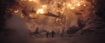 A space ship crashes through a snow avalanche Roland Emmerich's sci-fi disaster flick MOONFALL (2022)