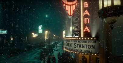A marquee promotes a mysterious show in Guillermo del Toro's gothic film noir NIGHTMARE ALLEY (2021)