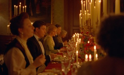 Princess Diana (Kristen Stewart) at a Royal Family meal in the Princess Diana biopic SPENCER (2021)