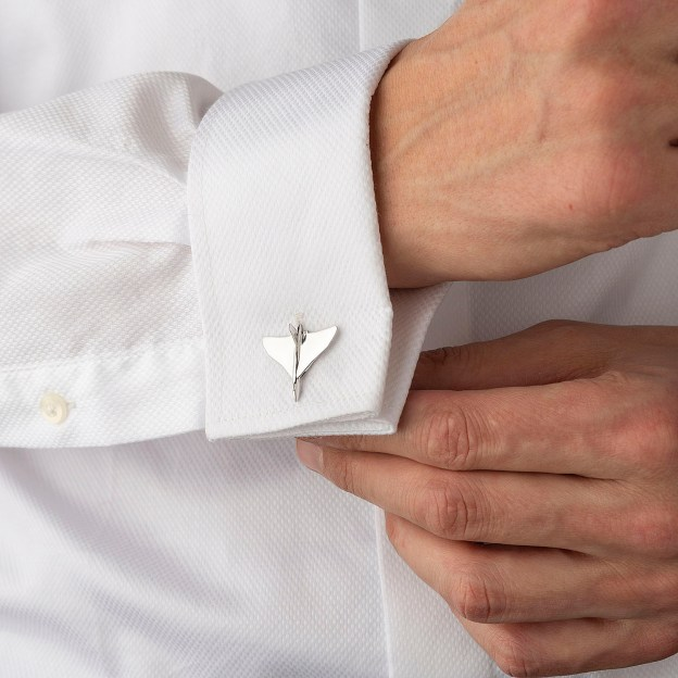 Avro Vulcan XH558 Cufflinks made from Vulcan Aluminium on the cuff