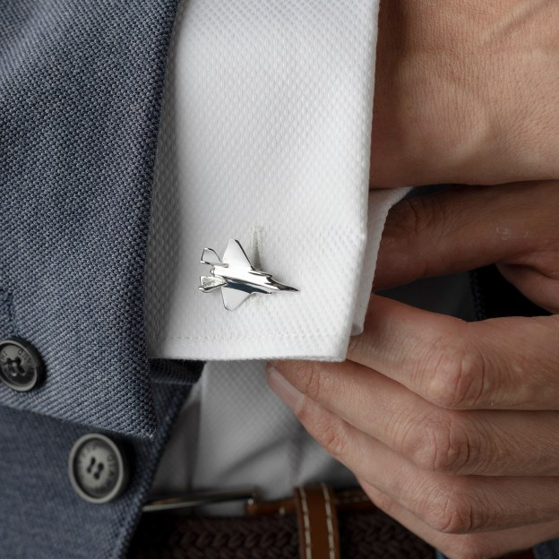 F35-A cufflink gift set made from reclaimed F-35 Aluminium on the cuff