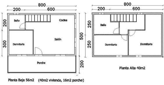 Plano planta y piso de casa 96 m