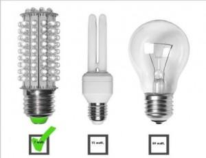 bombilla de bajo consumo, lampara LED, bombilla incandescente