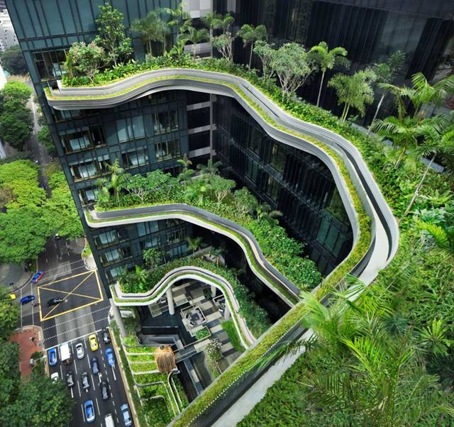 jardines verticales espectaculares: The Park Royal Hotlel en Singapur