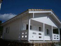 Plano de casa de 60 m, 2 habitaciones y porche