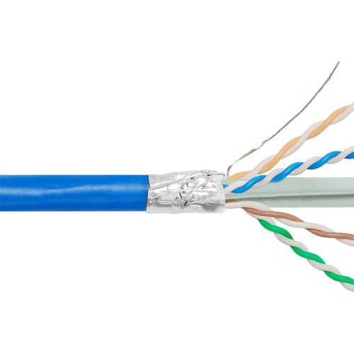 650Mhz CAT6A Bulk Cable with FTP and CMP Blue Copper Premise Cable