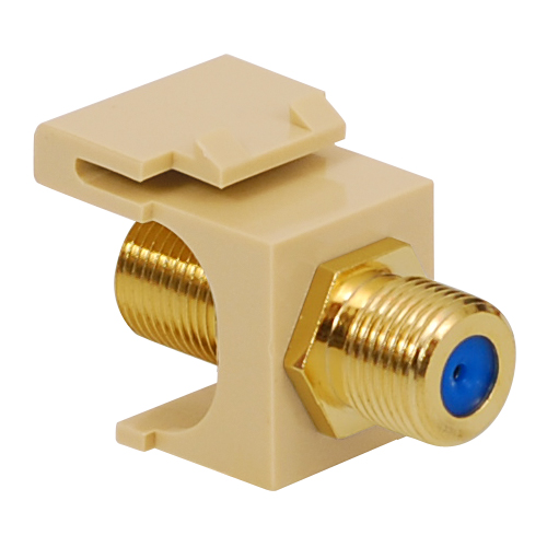 F-Type Modular Jack with 3 GHz Gold Plated Connector in HD Style Color Almond Black Ivory White Packaging