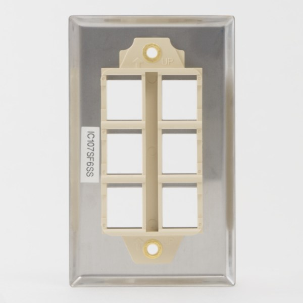 Classic Stainless Steel Faceplate 6 Port Back IC107SF6SS