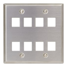 Classic Stainless Steel Faceplate 8 Ports Double Gang IC107DF8SS