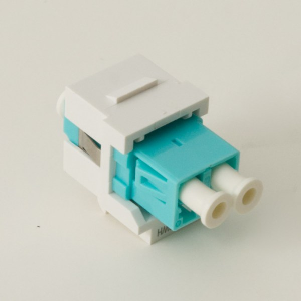LC Fiber Optic Keystone Coupler (OM3) with Metal Sleeves and Duplex Ports Back IC107LCGWH
