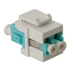 LC Fiber Optic Keystone Coupler (OM3) with Metal Sleeves and Duplex Ports IC107LCGWH