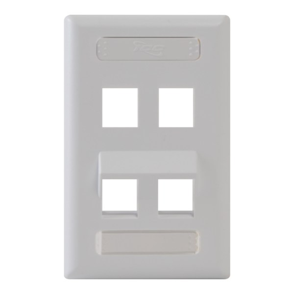 Angled Station ID Faceplate with 2 Flat Port and 2 Angled Ports for EZ/HD Style in Single Gang in White IC107AS4WH