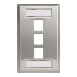 Station ID Steel Faceplate 3 port Single IC107S03SS