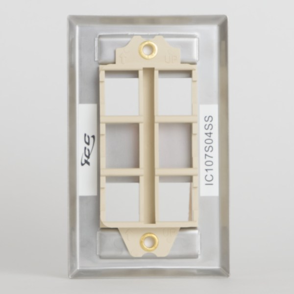 Station ID Steel Faceplate 4 Port Single Back IC107S04SS