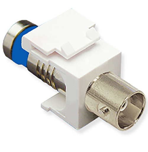 BNC Compression Keystone Jack for 75 Ohm with Nickel Plated Connector for HD Style in White