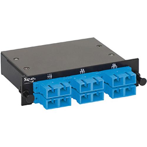 SC-MPO Fiber Optic LGX Cassette with Blue Singlemode Adapters and 12 OS1 Fibers